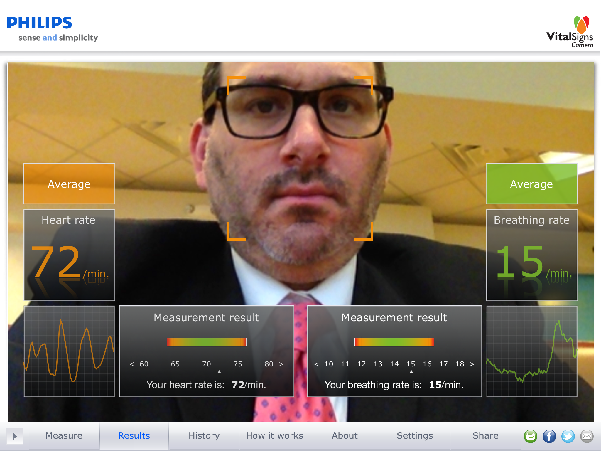 Measuring HR and RR with an iPad