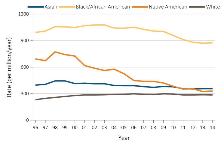 Vol 2 Figure 1.5 from USRDS 2016 ADR, AJKD, © National Kidney Foundation. Trends in adjusted* ESRD incidence rate (per million/year), by race, in the U.S. population, 1996-2014